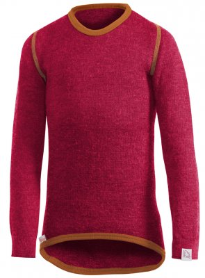 woolpower Kids Kinder Merino Langarm Hemd rot/ orange